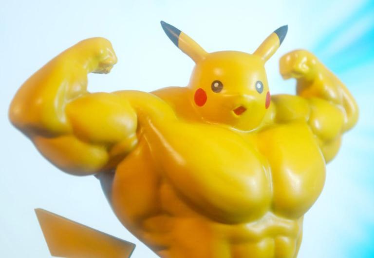 Swole Pikachu flexing