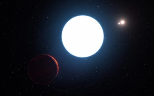 This artist's impression shows a view of the triple star system HD 131399 from close to the giant planet orbiting in the system. The planet is known as HD 131399Ab and appears at the lower-left of the picture. Located about 320 light-years from Earth in the constellation of Centaurus (The Centaur), HD 131399Ab is about 16 million years old, making it also one of the youngest exoplanets discovered to date, and one of very few directly-imaged planets. With a temperature of around 580 degrees Celsius and having an estimated mass of four Jupiter masses, it is also one of the coldest and least massive directly-imaged exoplanets.