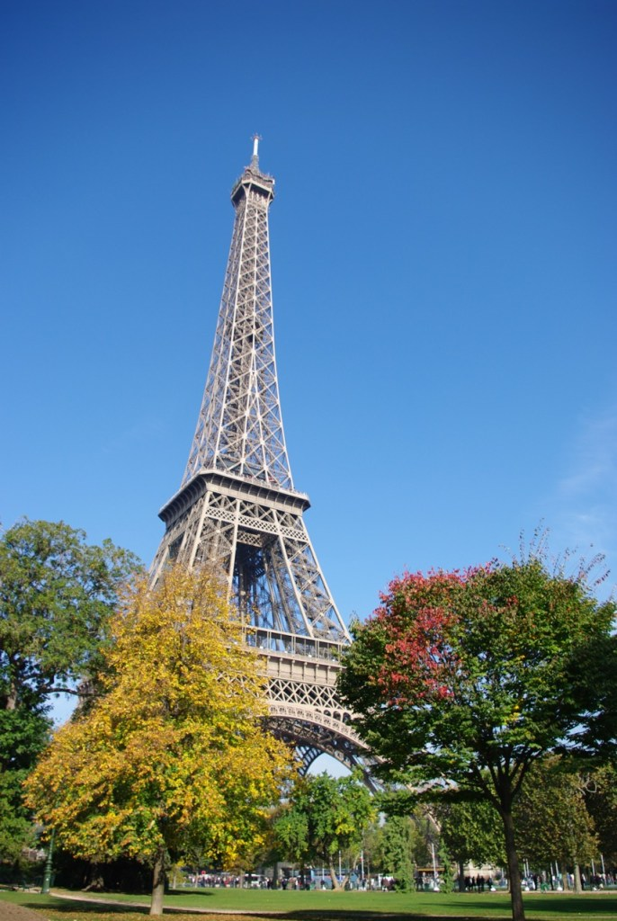 Eiffel Tower against a big blue sky