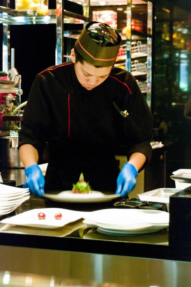A chef at Joël Robuchon Hong Kong
