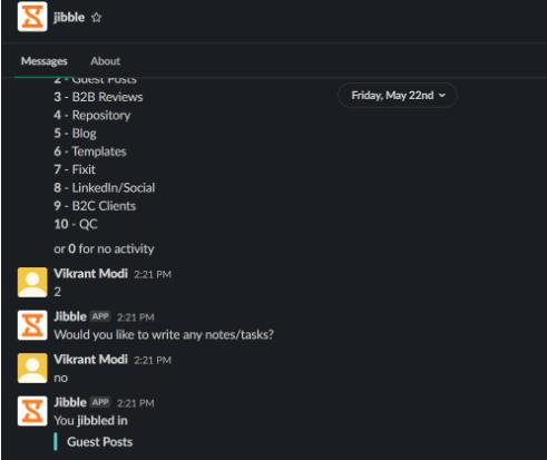 Screenshot of a Jibble, slack optimization tool, conversation