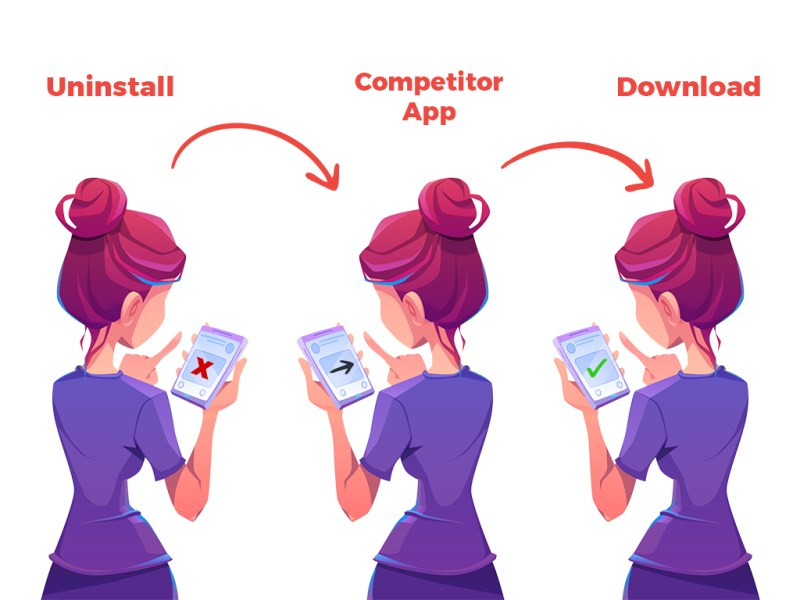 Woman uninstalling app from Smartphone