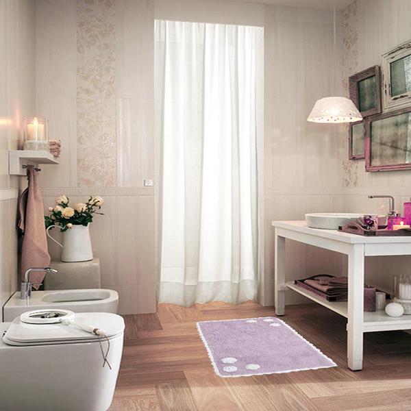 Sobel  Tappeto da bagno Shabby Chic Retro Rosa  Di Stefano  Biancheria per la casa e tende