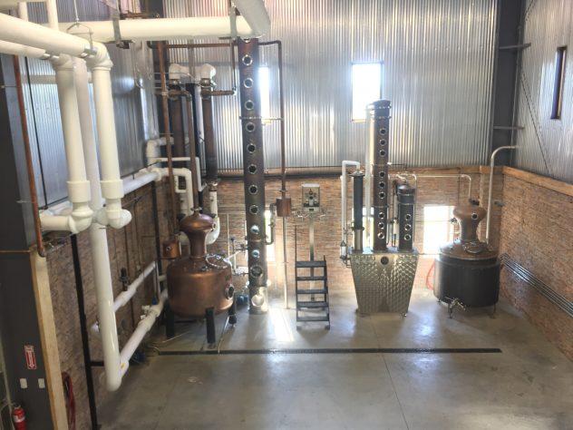 Complex distillation setup at Wilderness Trail Distillery