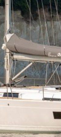 A yacht anchored near cliffs in Mallorca