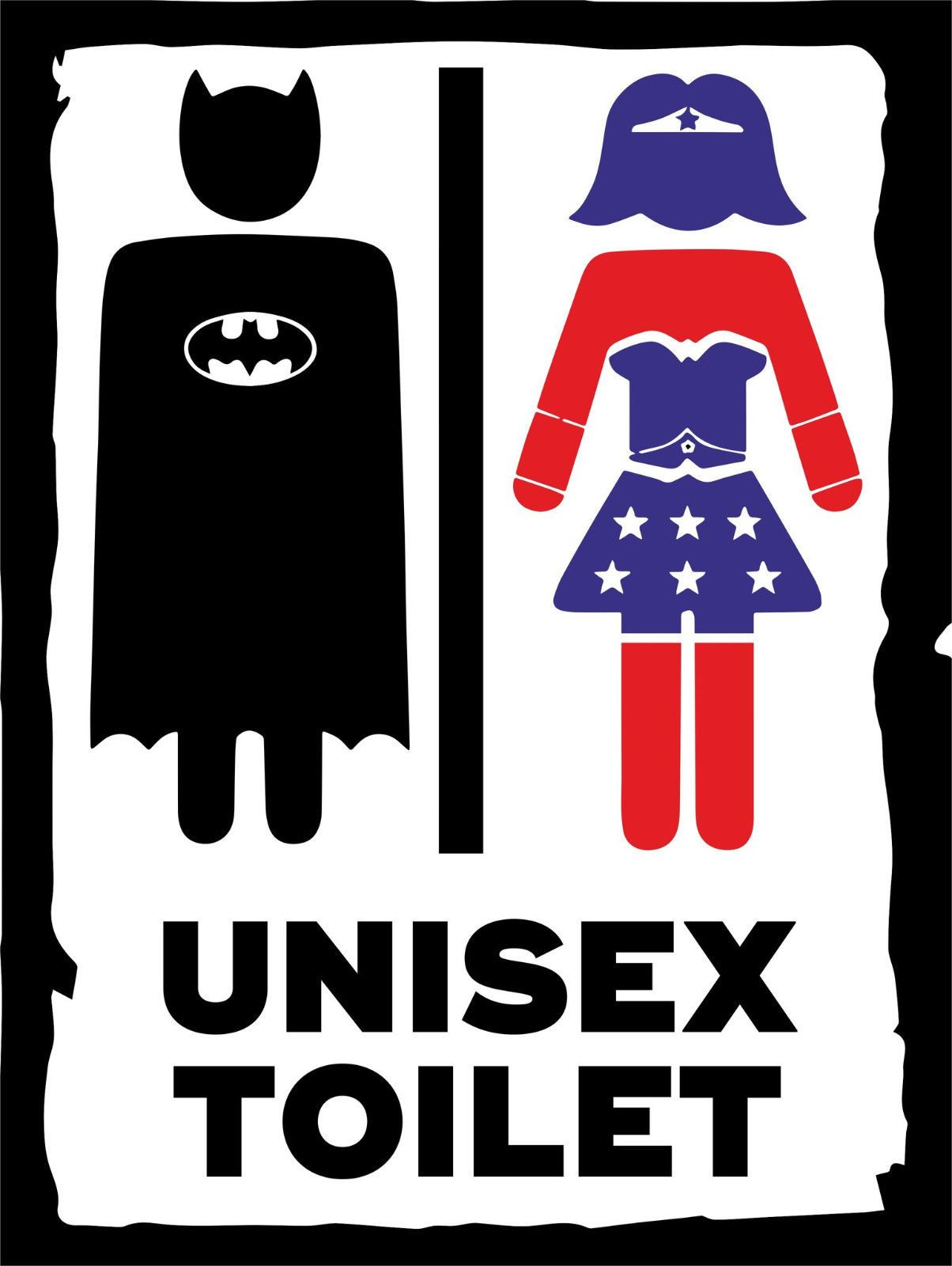 Sign For Bathroom Comic Superhero Inspired Metal Sign Bathroom Wall Plaque Unisex Toilet