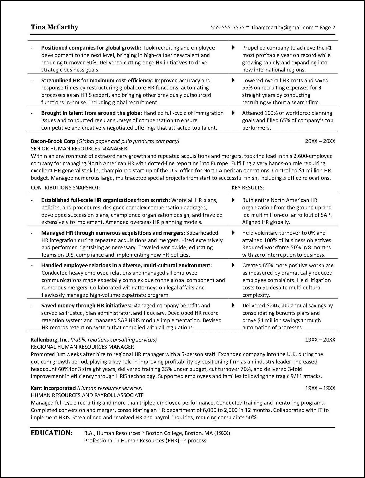 Hr Manager Resume Format Powerful Human Resources Resume Example