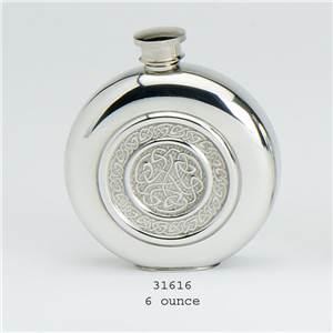 Pewter Flask 6oz Round With Celtic Rope Insert Design