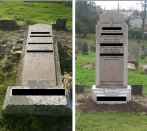 Headstone re-erecting