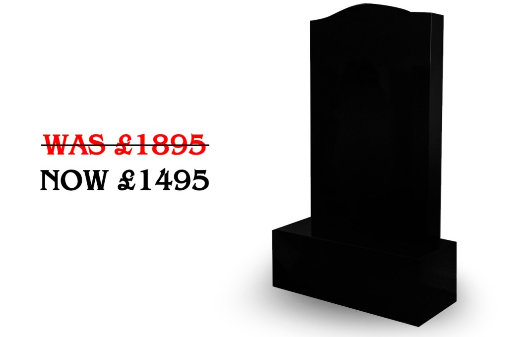 4ft black ogee headstone offer