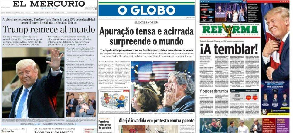 """""""A temblar"""", """"El mundo amanece al revés"""": los diarios de América Latina sobre el triunfo de Trump"""