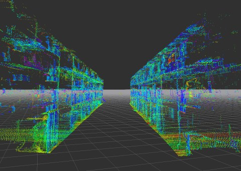 A point cloud - data points representing the warehouse layout in digital form.