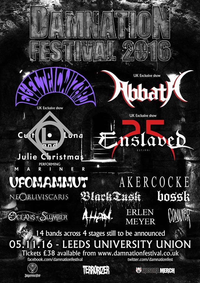 Damnation Festival 2016 - Lineup AO July 2016