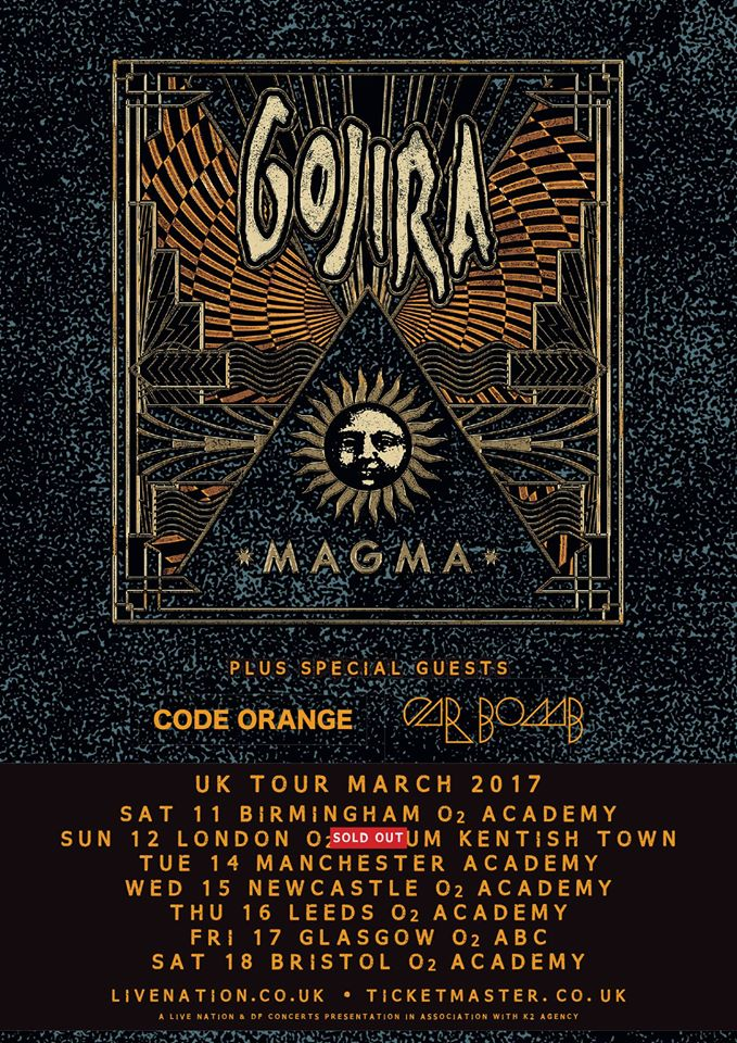 Gojira UK Tour Latest Poster