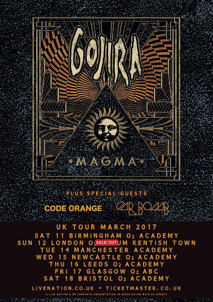 Gojira UK Tour Latest Poster