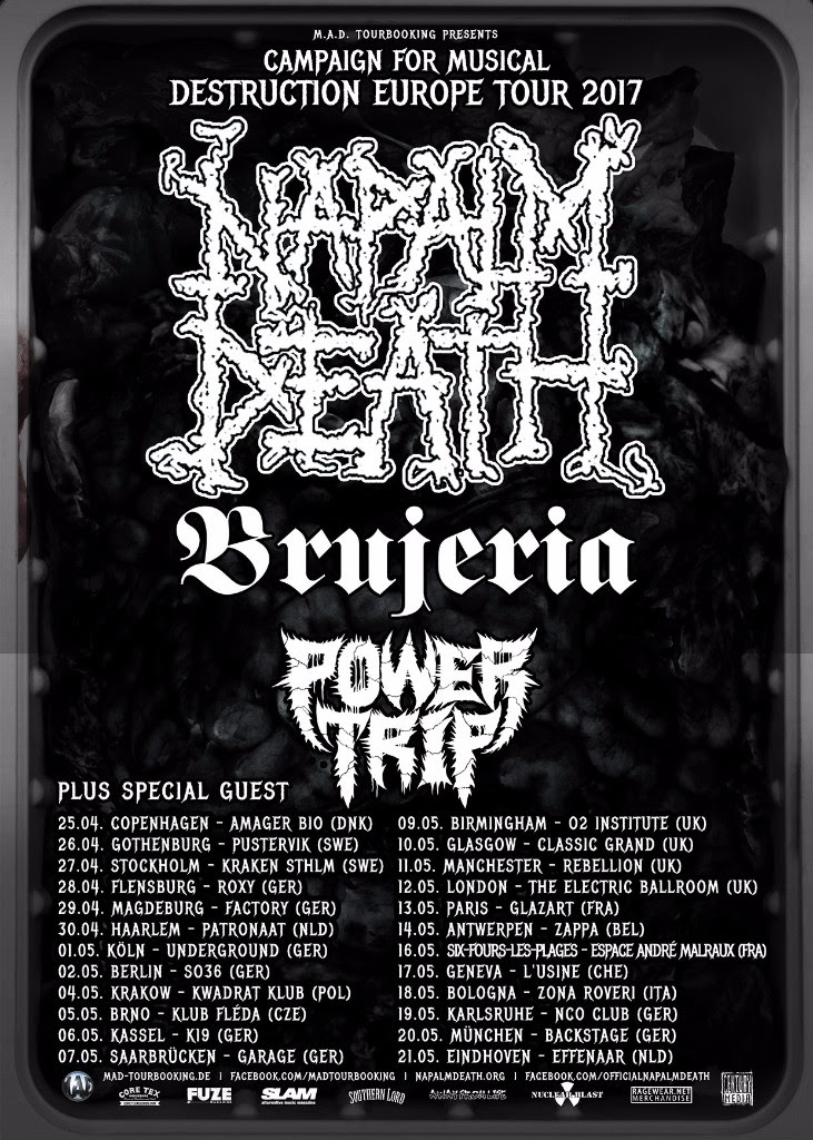 Napalm Death EU/UK tour 2017