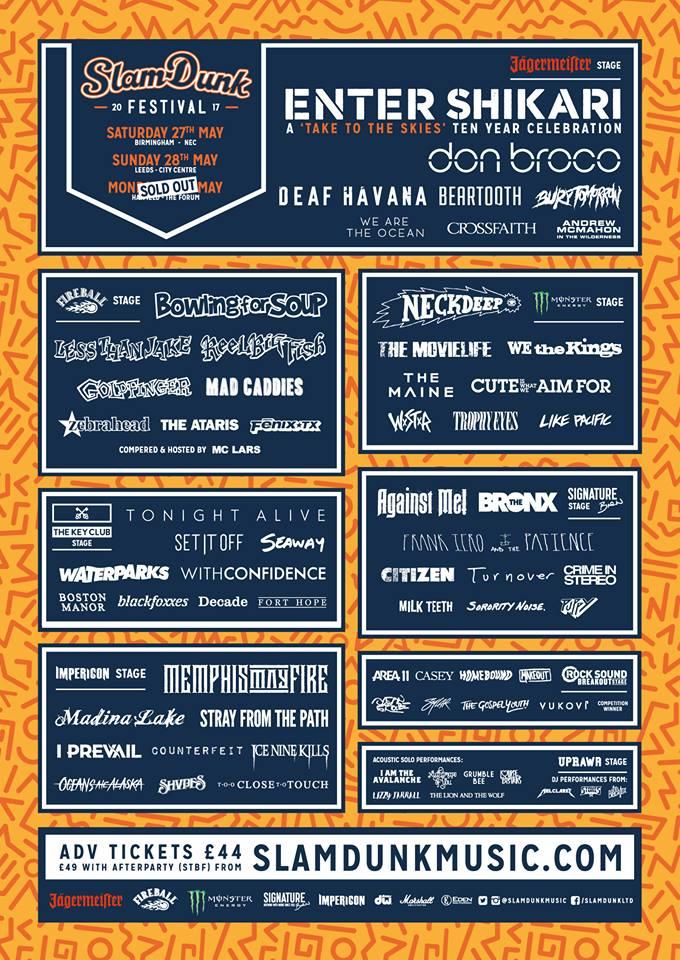 Slam Dunk Festival 2017 - Final Lineup