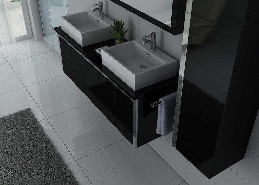 Meuble Salle De Bain Double Vasque Noir Laque