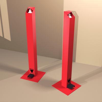 Distributeur de gel hydroalcoolique sur pied (rouge)