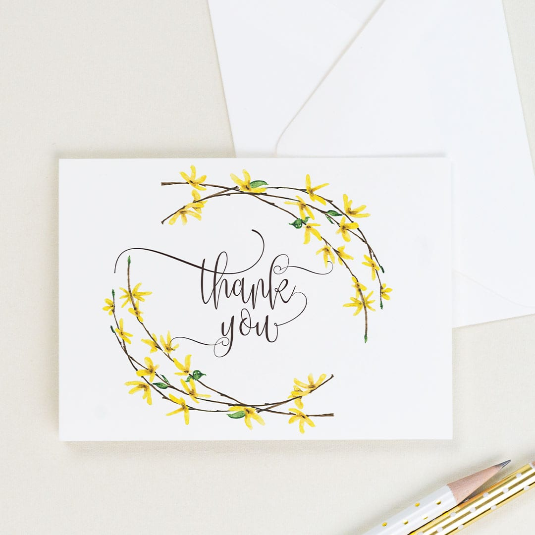 Beautiful yellow forsythia thank you card handpainted by CharmCat Creative is stunning! | District Bliss Community Member