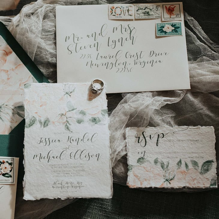 Watercolor antique wedding invitation suite painted by CharmCat Creative. Roses and calligraphy - gorgeous!