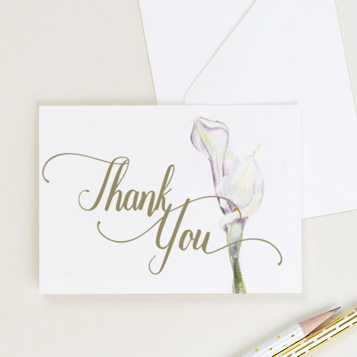 CharmCat Creative handpaints soft pink calla lillies for this beautiful thank-you card | District Bliss Community Member