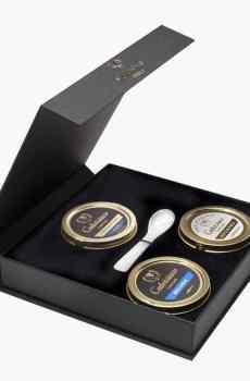 coffret prestige 3 caviars, caviar beluga, caviar oscietre, caviar sevruga
