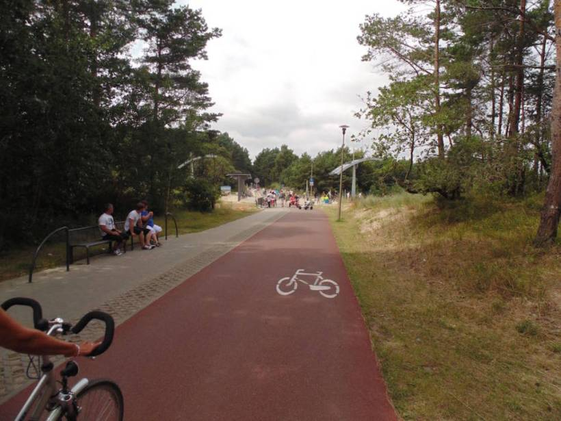 The EU funded pedestrian road. In the view you can see the border between Poland and Germany
