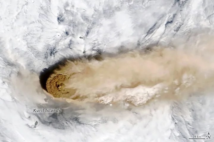 First Raikoke Volcano Erupting for the First Time in 95 Years