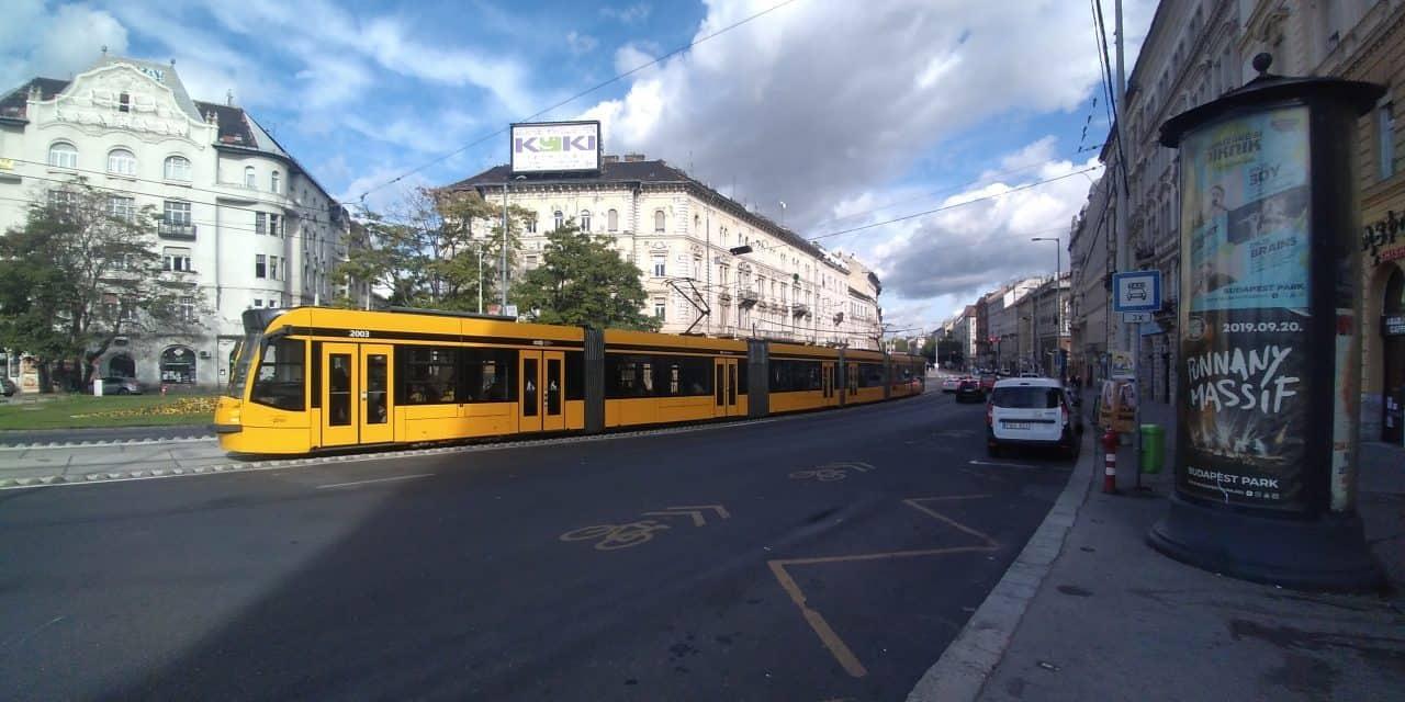 Worlds longest light rail tram in Budapest Hungary