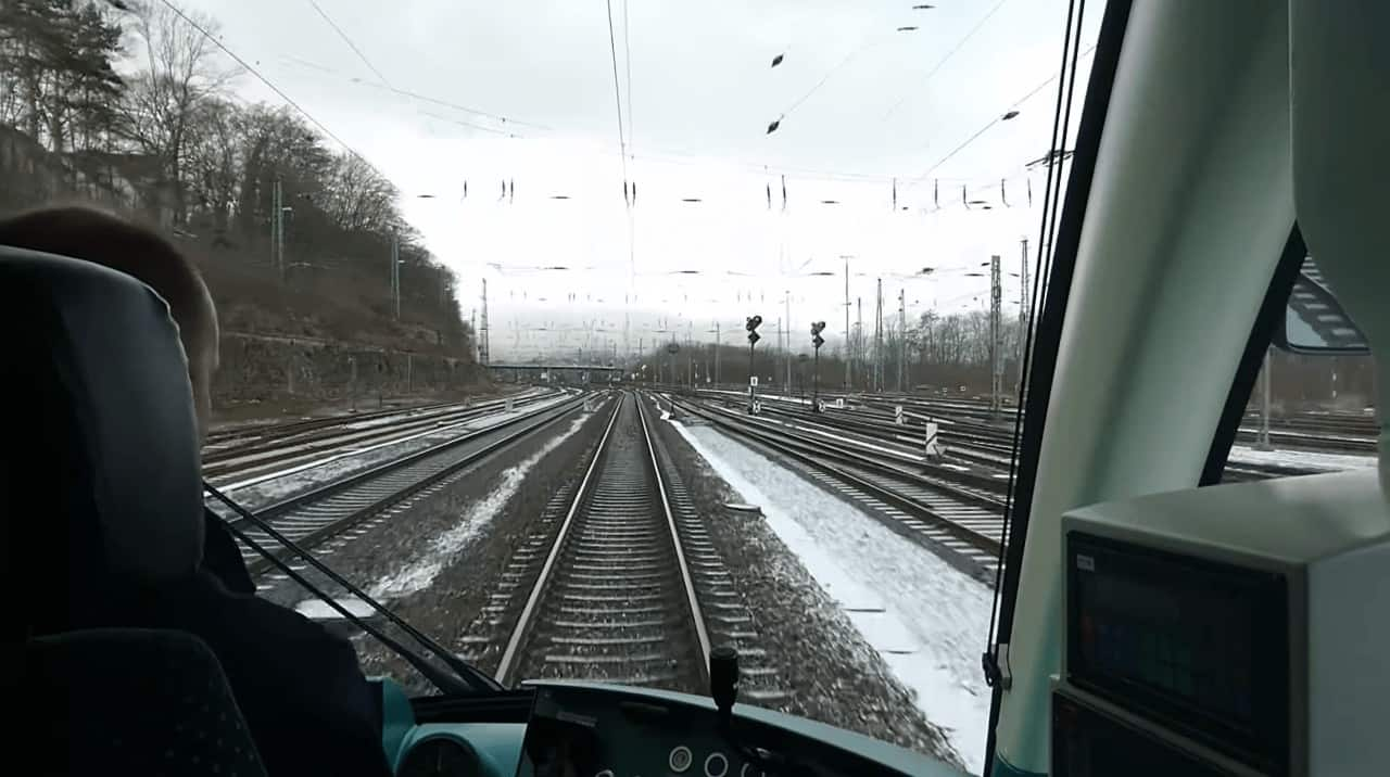 Light Rail trains on Train tracks