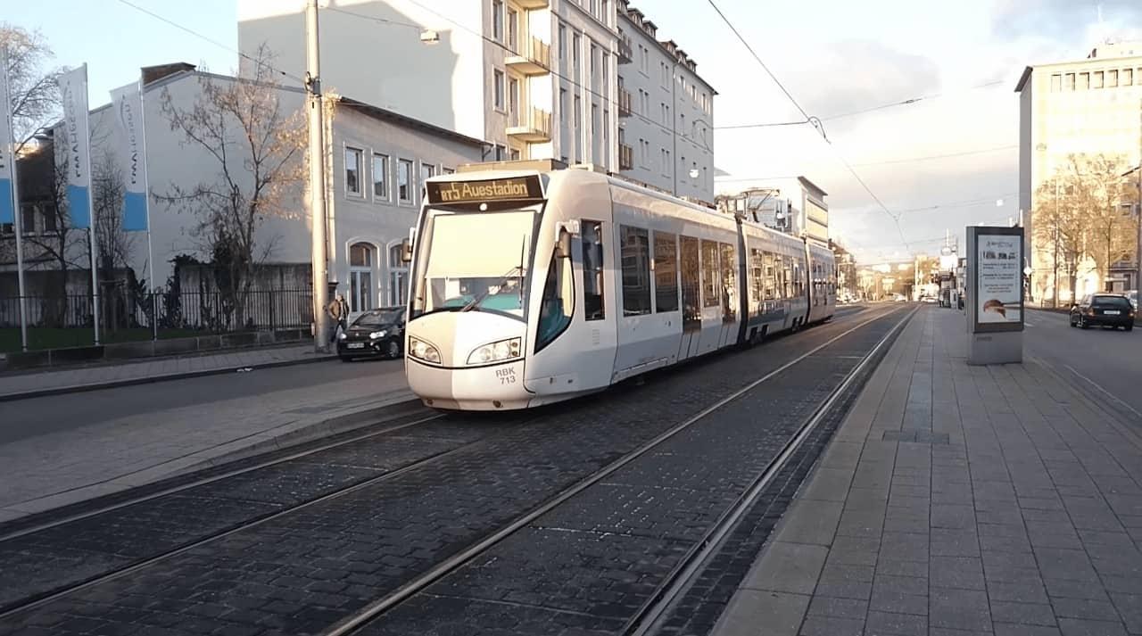 Light Rail trains on tram tracks in Kassel Germany