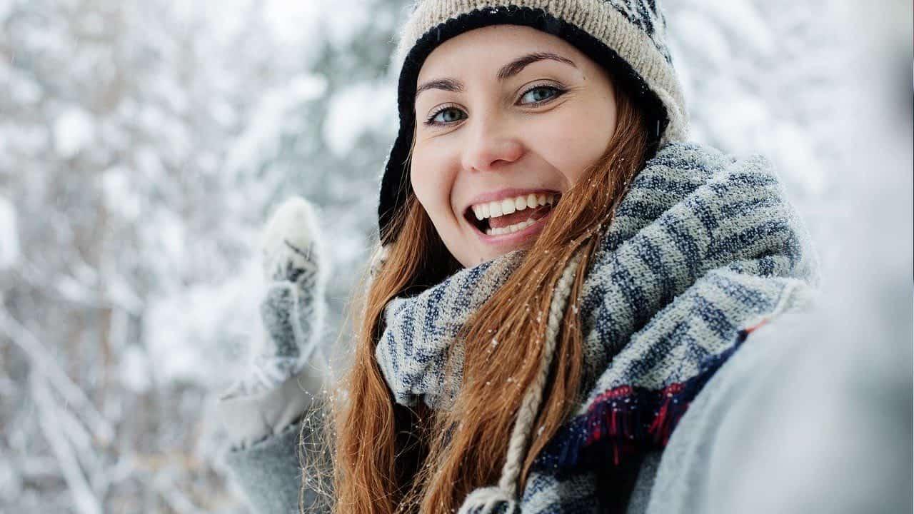 Happy girl in winter weather