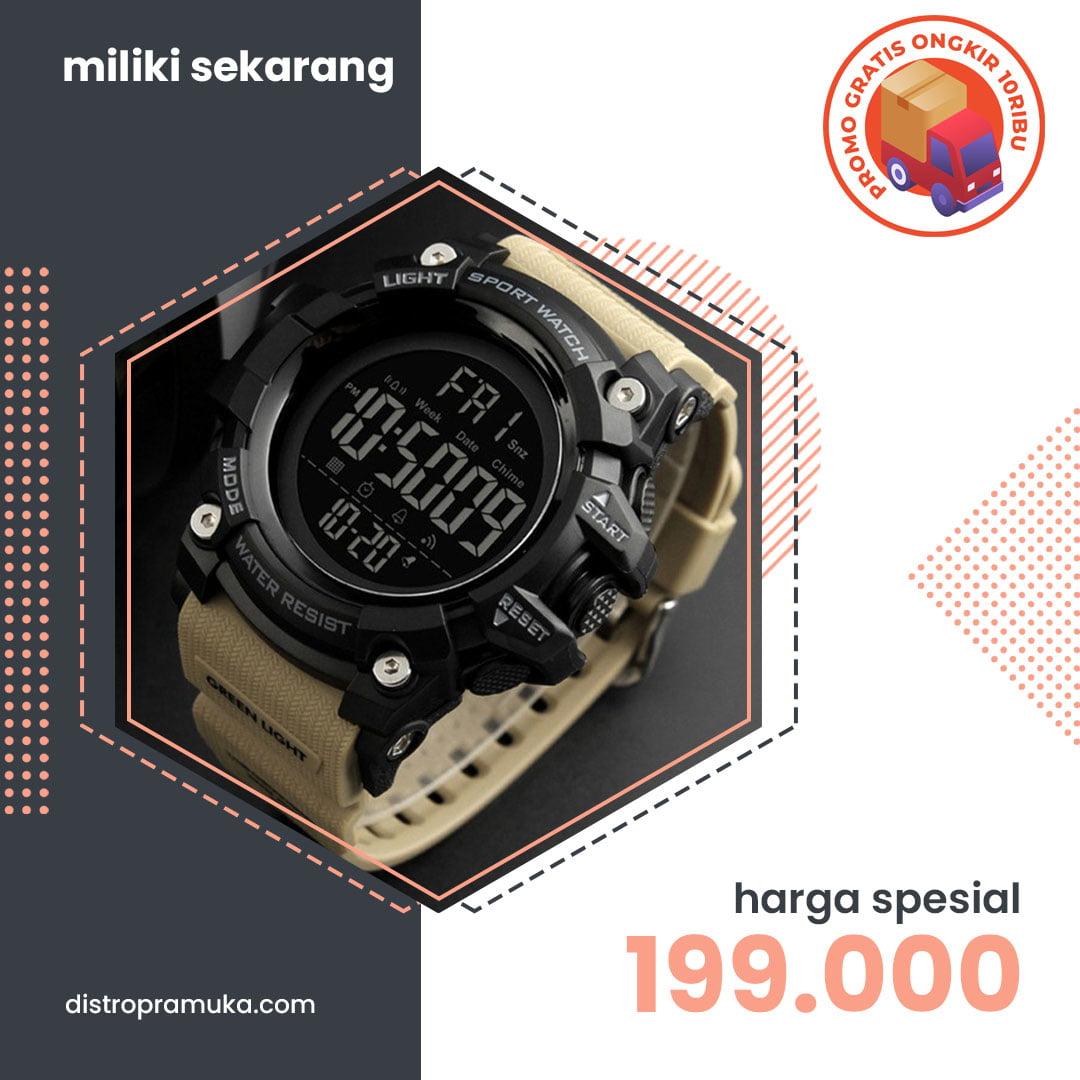 Jam Tangan Pria Digital Skmei 1384 Khaki Water Resistant 50m