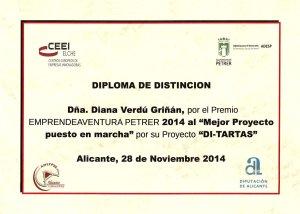 Diploma Mejor Proyecto Puesta en marcha 2014