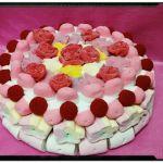 Tarta chuches en tonos rosas