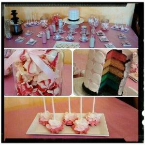detalles de mesa dulce rosa y blanco