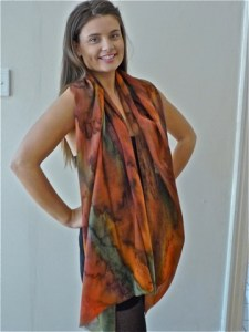 Womans Autumn wrap in fine Australian merino wool voile handpainted in unique colours