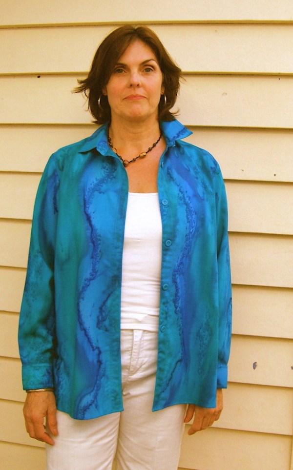 Womans Turquoise Blue Sea shirt in fine Australian merino wool handpainted in unique colours