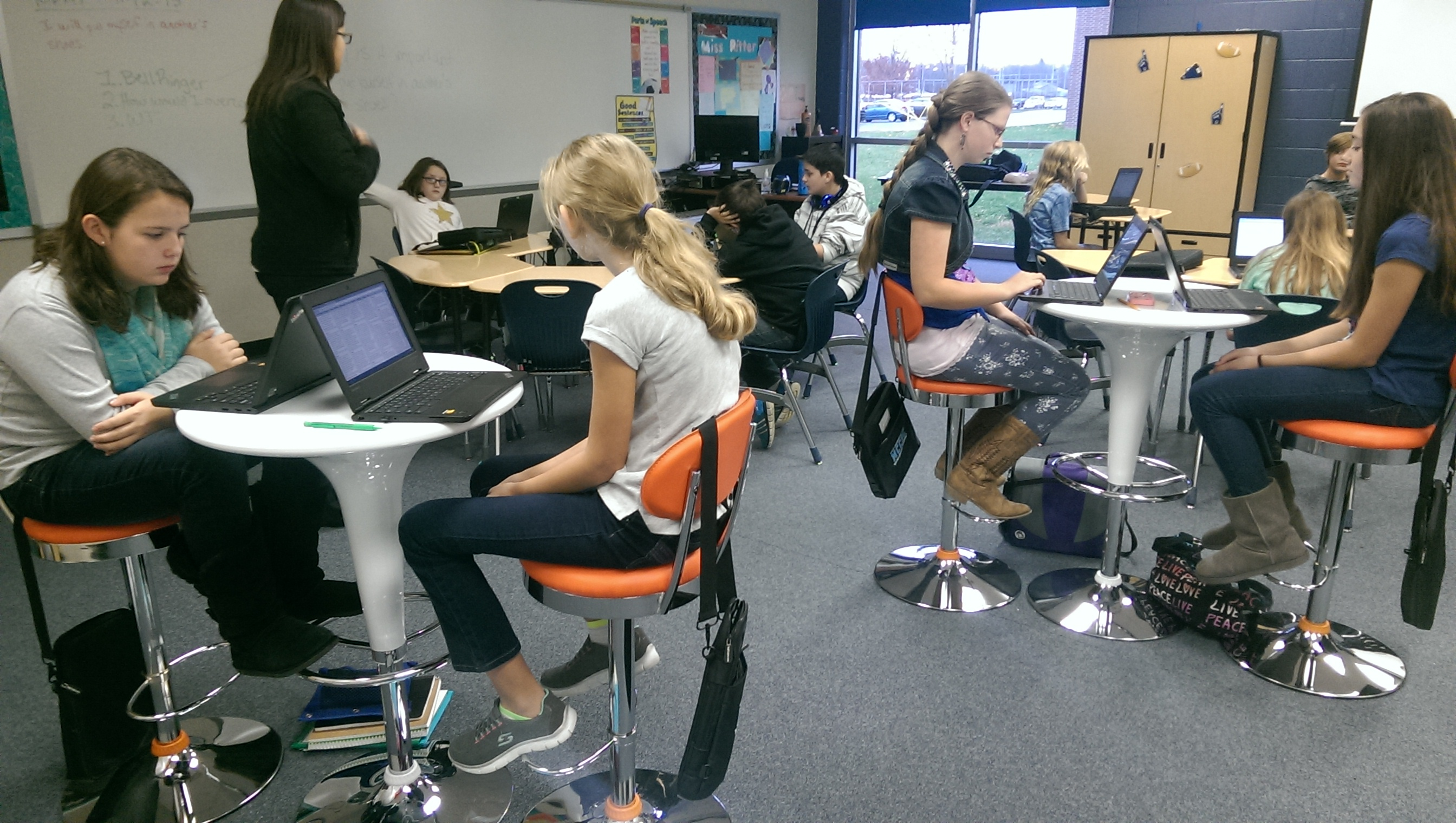 Students At Cascade Middle School Test Out New Classroom Furniture Donated  By Orange Leaf Frozen Yogurt
