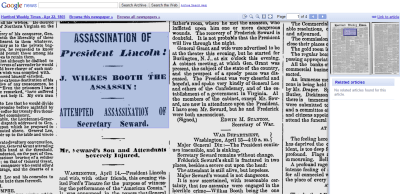 Students can view media coverage of historical events first-hand with Google News Archive. (Screenshot from Google News Archive)
