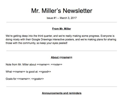 newsletter google doc