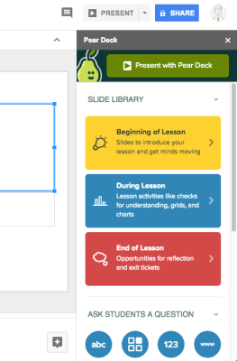pear deck sidebar menu