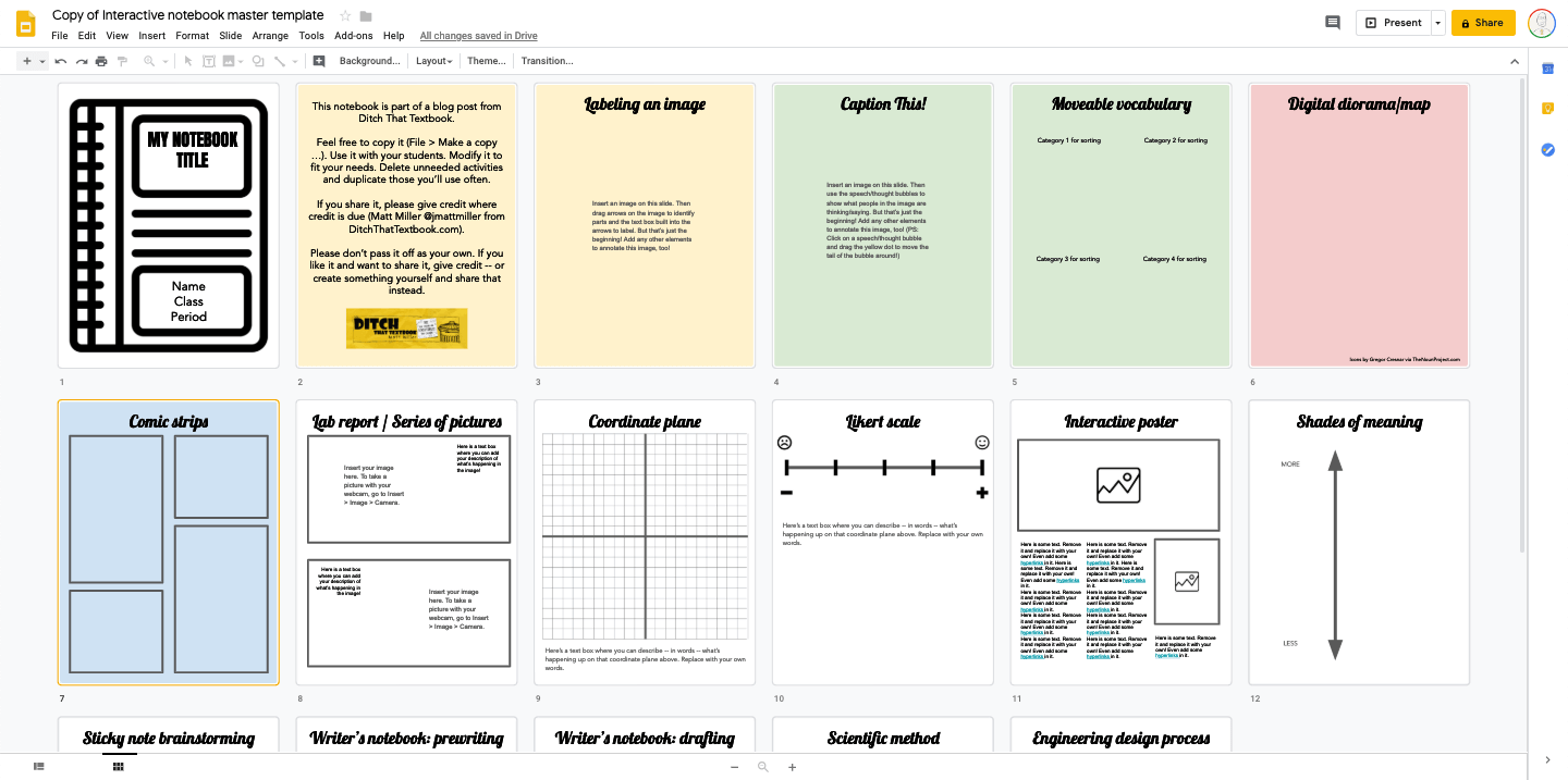 Google Slides interactive notebooks + 20 activities to fill