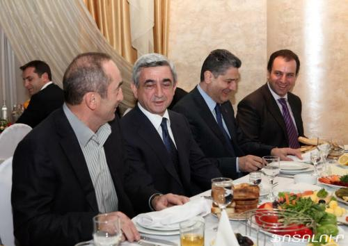Armenia -- (from left to right) Ex-president Robert Kocharian, president Serzh Sargsian, prime minister Tigran Sargsian, president's chief of staff Vigen Sargsian, 28Dec2011