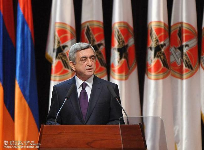 Armenia -- President Serzh Sargsyan makes a speach during Republican Party Convention, Yerevan, 10Mar2012