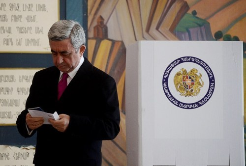 Armenia --- President Serzh Sarkissian votes in February 18 presidential elections, Yerevan, 18Feb2013