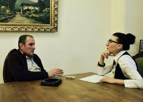 "Former President Levon Ter-Petrossian gives an interview to Khristine Khanumian, journalist of ""Chorrord Inqnishkhanutyun"" newspaper"