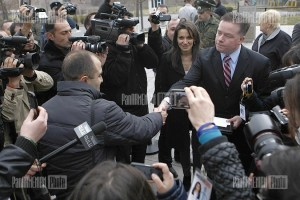 Activists made protest action in front of the US Embassy in Armenia towards the congratulation by US President Barack Obama towards Armenian President Serzh Sargsyan
