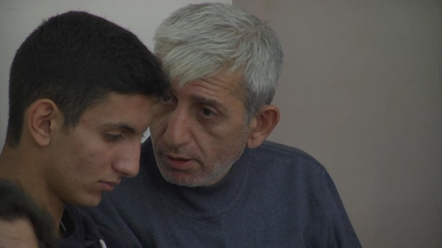 Armenia - Activist Shant Harutiunian and his 15-year-old son Shahen stand trial on what they consider politically motivated charges, Yerevan, 15Sep2014.